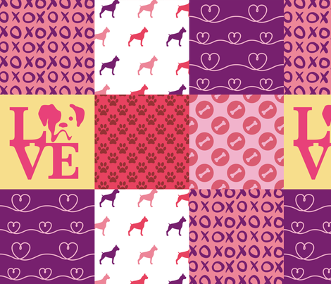 Cheater Quilt Boxer Pink fabric by mariafaithgarcia on Spoonflower - custom fabric