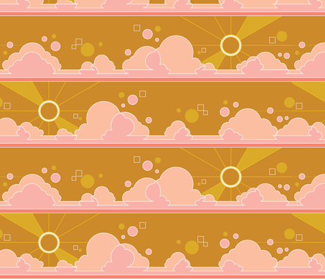 Cloud 9* (Large Scale Gold Seal) || clouds sky polka dots Art Deco pop sunset sunrise sun rays mustard fabric by pennycandy on Spoonflower - custom fabric