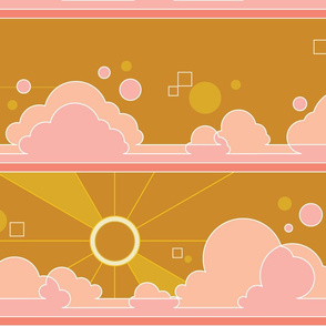 Cloud 9* (Large Scale Gold Seal) || jumbo clouds sky polka dots Art Deco pop sunset sunrise sun rays mustard