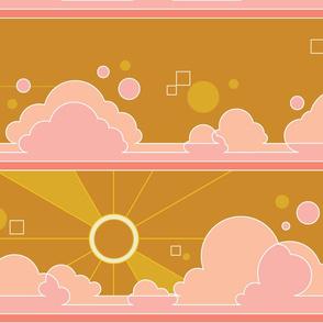Cloud 9* (Large Scale Gold Seal) || jumbo clouds sky polka dots Art Deco pop sunset sunrise sun rays mustard
