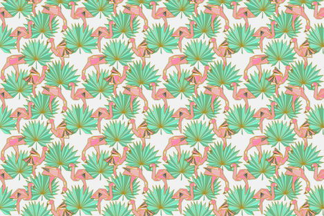 Flamingami Ori-topia (off white) simple fabric by helenpdesigns on Spoonflower - custom fabric