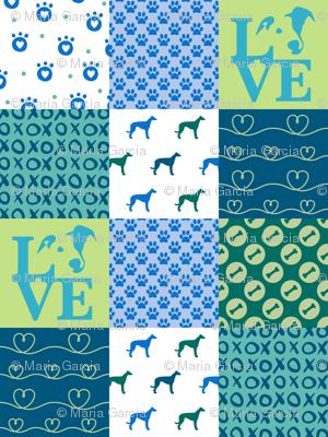 Cheater Quilt Greyhound Blue