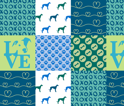 Cheater Quilt Greyhound Blue fabric by mariafaithgarcia on Spoonflower - custom fabric