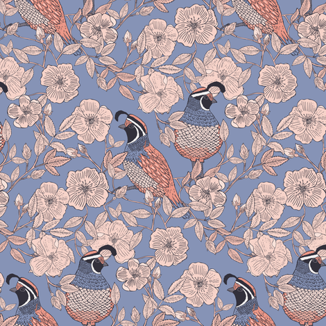 Quail and Wild Roses // SMALL fabric by jacquelinehurd on Spoonflower - custom fabric