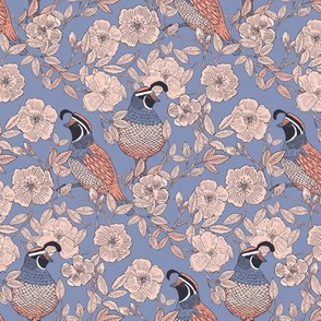 Quail and Wild Roses // SMALL