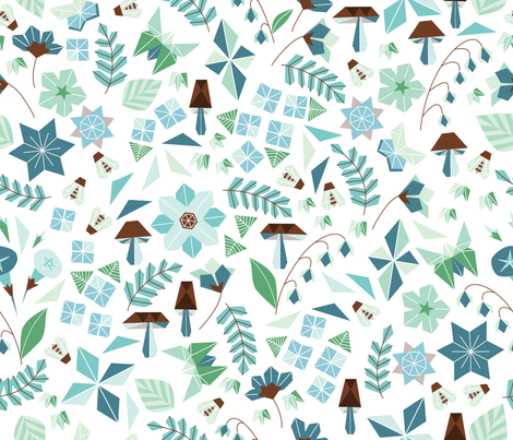 Origami Spring Garden fabric by ldpapers on Spoonflower - custom fabric