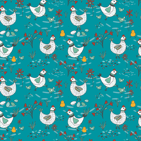 Free Range Hens and Chicks Blue // SMALL fabric by jacquelinehurd on Spoonflower - custom fabric
