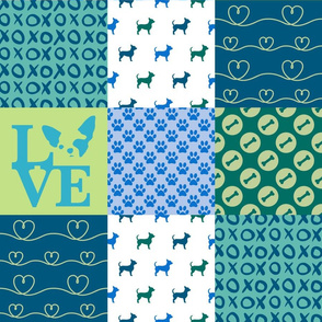 Cheater Quilt Chihuahua Blue