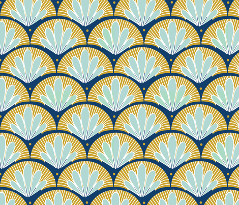 Blue and Gold Art Deco fabric by cathleenbronsky on Spoonflower - custom fabric