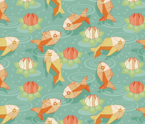 origami gold fish fabric by cjldesigns on Spoonflower - custom fabric