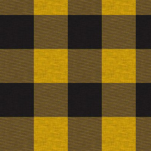 "1.75"" Gold/yellow And Black house check - Buffalo plaid"