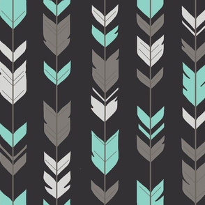 Arrow Feathers - light teal, grey, silver on black