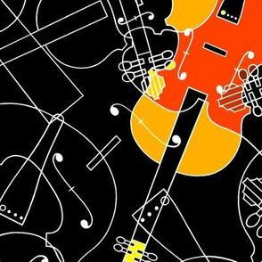 scattered red/orange /yellow violins on black