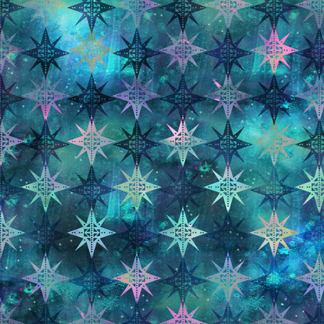Bohemian Night SKy Green fabric by schatzibrown on Spoonflower - custom fabric