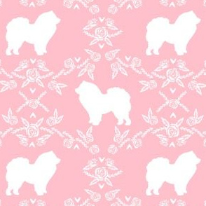 Chow Chow floral silhouette dog breed fabric pink