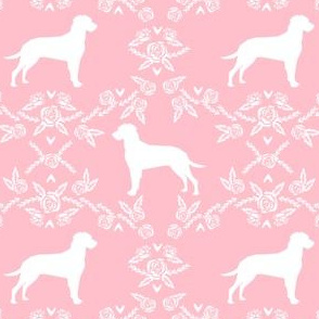 dalmatian floral silhouette dog breed fabric pink