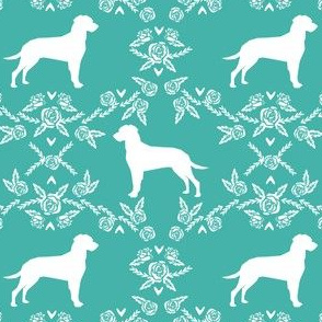 dalmatian floral silhouette dog breed fabric turquoise