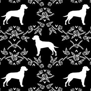 dalmatian floral silhouette dog breed fabric black and white