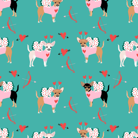 chihuahua love bug cupid costume dog breed turquoise fabric by petfriendly on Spoonflower - custom fabric