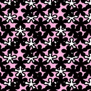 Floral Black shades Pinkish background White splash