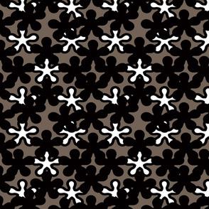 FLORAL black shades grey background white splash