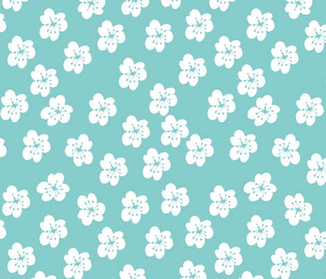 White Lillies On Turquoise fabric by maredesigns on Spoonflower - custom fabric