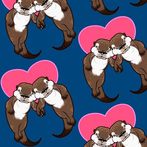 Otter Love  Deep fabric by jadegordon on Spoonflower - custom fabric