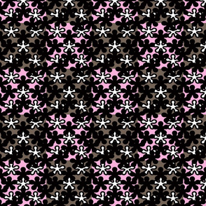 Pink Black White Grey floral quilting