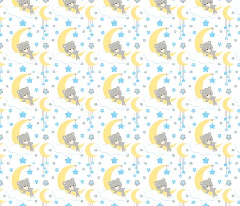 Bears on Moons fabric by snapdragonandfinn on Spoonflower - custom fabric