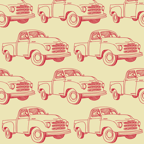 Nifty Fifties 1951 Studebaker Truck (red/yellow) fabric by edsel2084 on Spoonflower - custom fabric