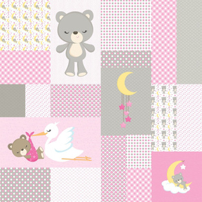 Pink Sleepy Bears Cheater Quilt