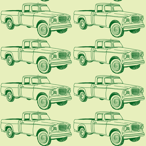 Green Sixties Studebaker Champ pick up truck fabric by edsel2084 on Spoonflower - custom fabric