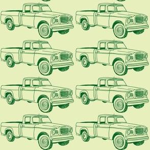 Green Sixties Studebaker Champ pick up truck