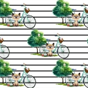 """4"""" Kitty Cat with Bike - Black Stripes"""