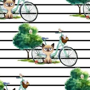 """8"""" Kitty Cat with Bike - Black Stripes"""