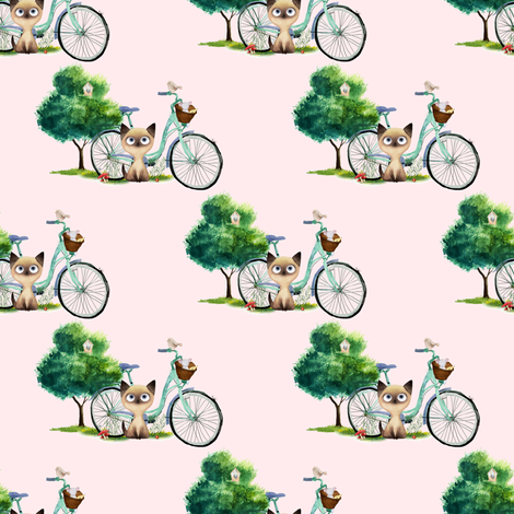 "4"" Kitty Cat with Bike - Pink fabric by shopcabin on Spoonflower - custom fabric"