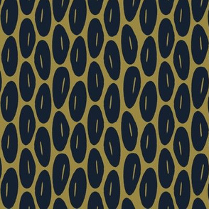 Funky Vintage Floral // Oval Abstract Botanical Stripe Print in Navy Blue + Deep Violet