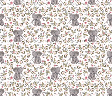 "14"" Baby Elephant with Flowers/ NO CROWN /... fabric by shopcabin on Spoonflower - custom fabric"
