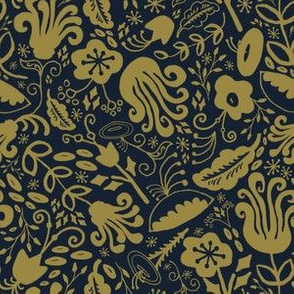 Funky Vintage Floral // Duotone in Marigold + Forest Green