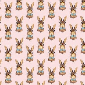 "1.5"" BUNNY WITH GLASSES / DARKER PINK"