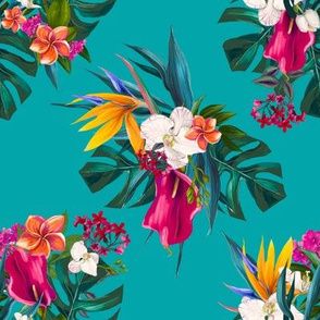 "8"" Love Summer Florals - Aqua"