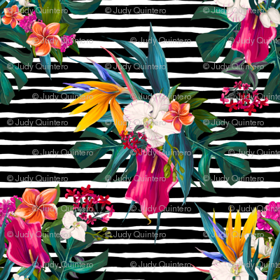 """18"""" Love Summer Florals - Black and White Stripes"""
