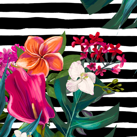 """18"""" Love Summer Florals - Black and White Stripes fabric by shopcabin on Spoonflower - custom fabric"""