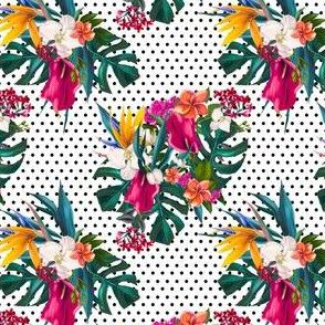 "4"" Love Summer Florals - Black Polka Dots"