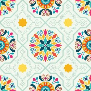 Cheery Minty Modern Moorish Tiles // Bright + Sunny Spanish-inspired Tile Design