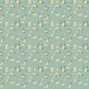"""1.5"""" Spring Time Bunny Florals Green"""