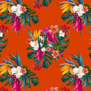 "4"" Love Summer Florals - Tropical Orange"