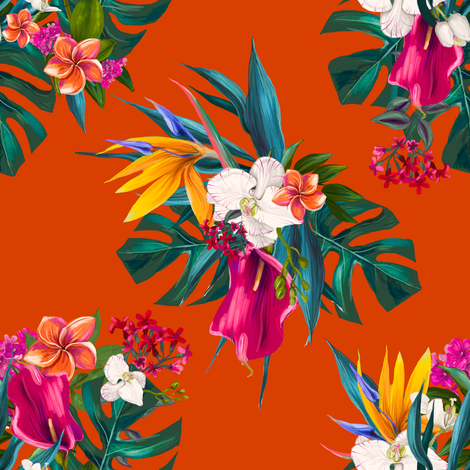"""8"""" Love Summer Florals - Tropical Orange fabric by shopcabin on Spoonflower - custom fabric"""