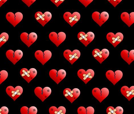 mended broken heart black fabric by b0rwear on Spoonflower - custom fabric