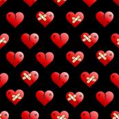 mended broken heart black